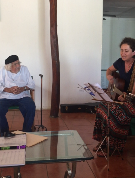 Singing a setting of one of his most famous poems to the maestro himself, Ernesto Cardenal.