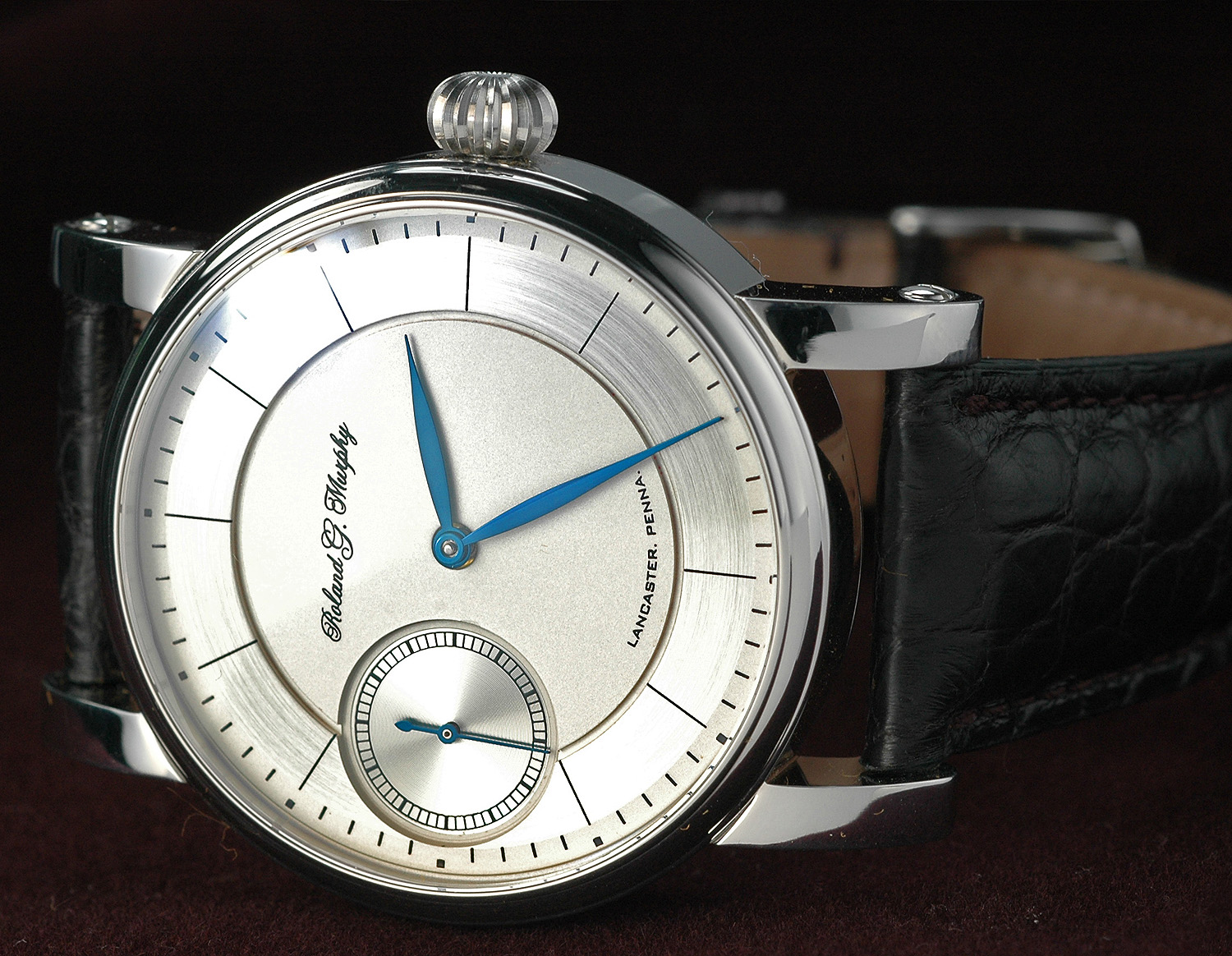 MODEL 222    921 movement - $4,500.00  923 movement- $6,500.00   Modern stylesilver dial,deep recessed secondwithfounder's signature.