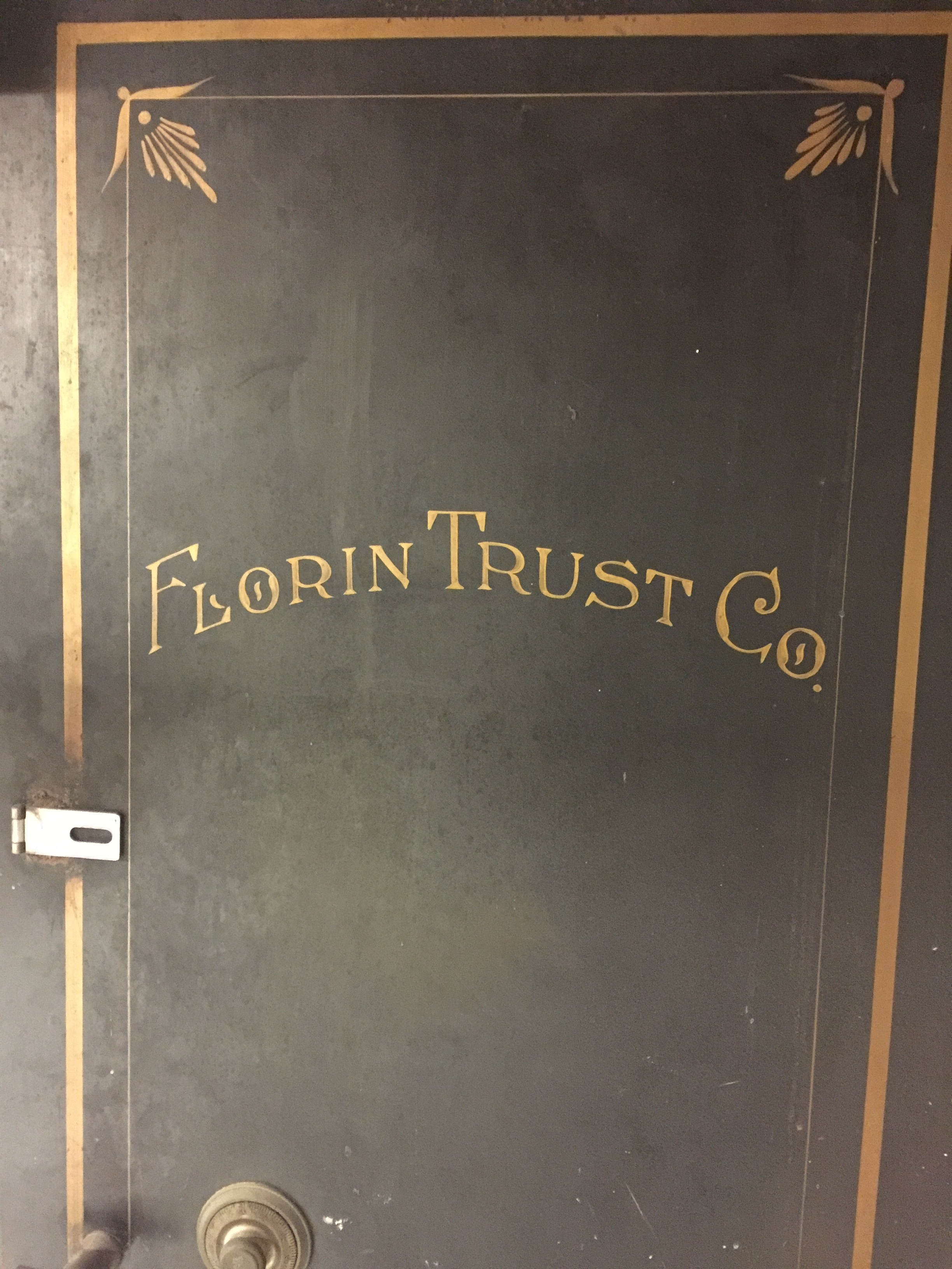 Original bank name on basement vault
