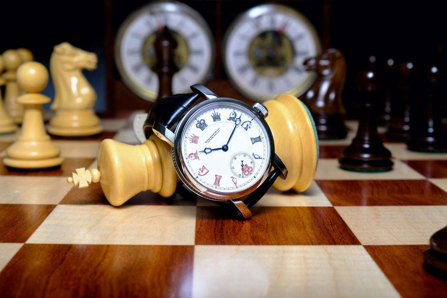 """PS-801-CH """"Chess in Enamel"""": the first   RGM   timepiece with a double-sunk real glass firedenameldial"""