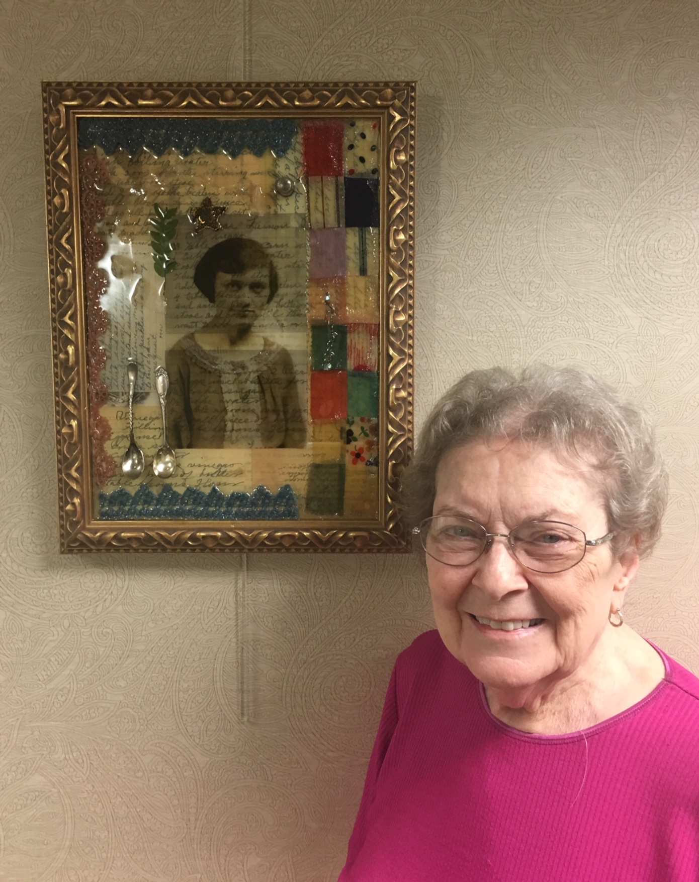 Margaret and the collage I made in her Moms memory.