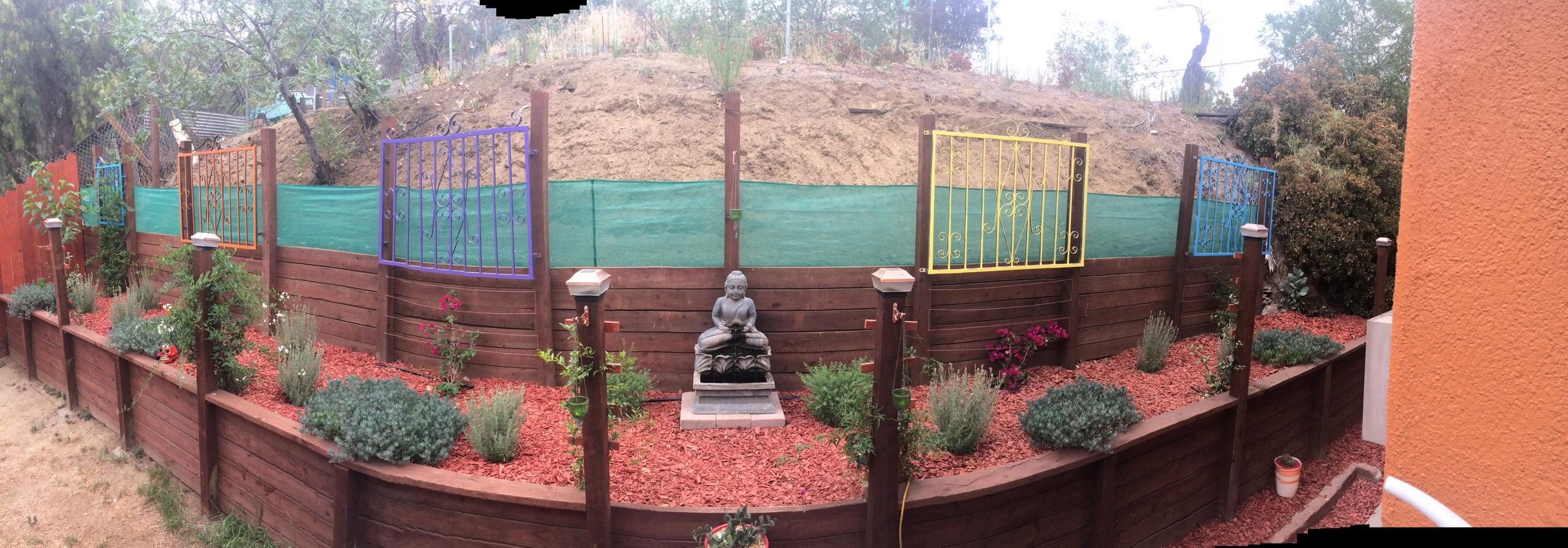 Panoramic view of side yard.