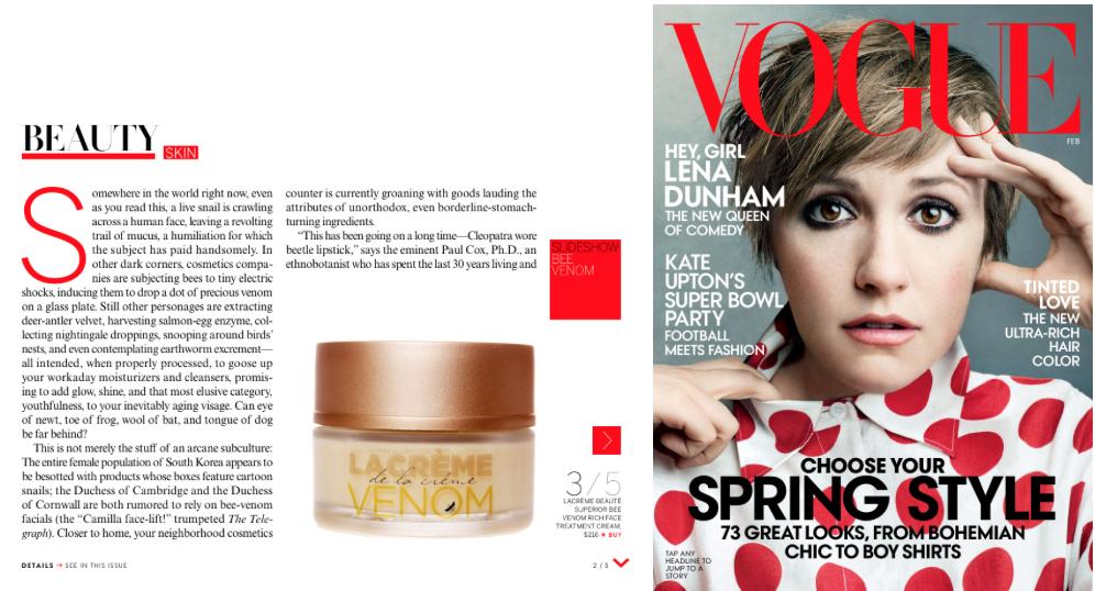 Lacréme Beauté featured in Vogue Magazine.