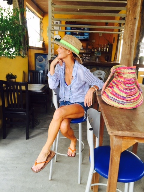 """Here's the interior of our """"Taco Stand Treasure""""and my hat from the surf shop."""