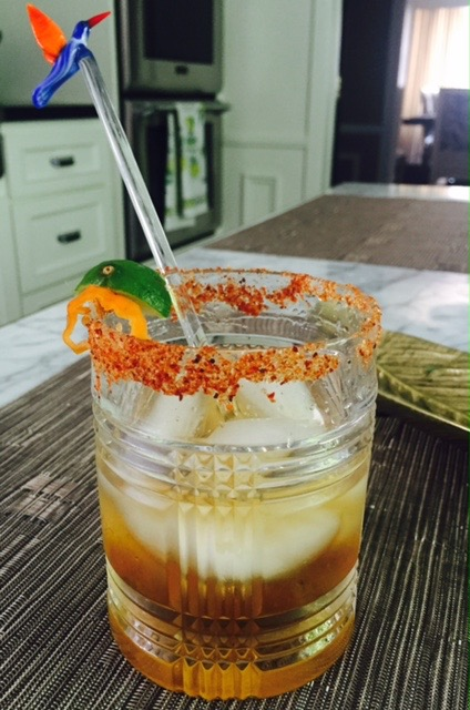 You can use  Tajin  to make a spicy rim for a margarita, instead of using salt.  El BUHO MEZCAL, Fresh Agave and Lime Juice        Salute!