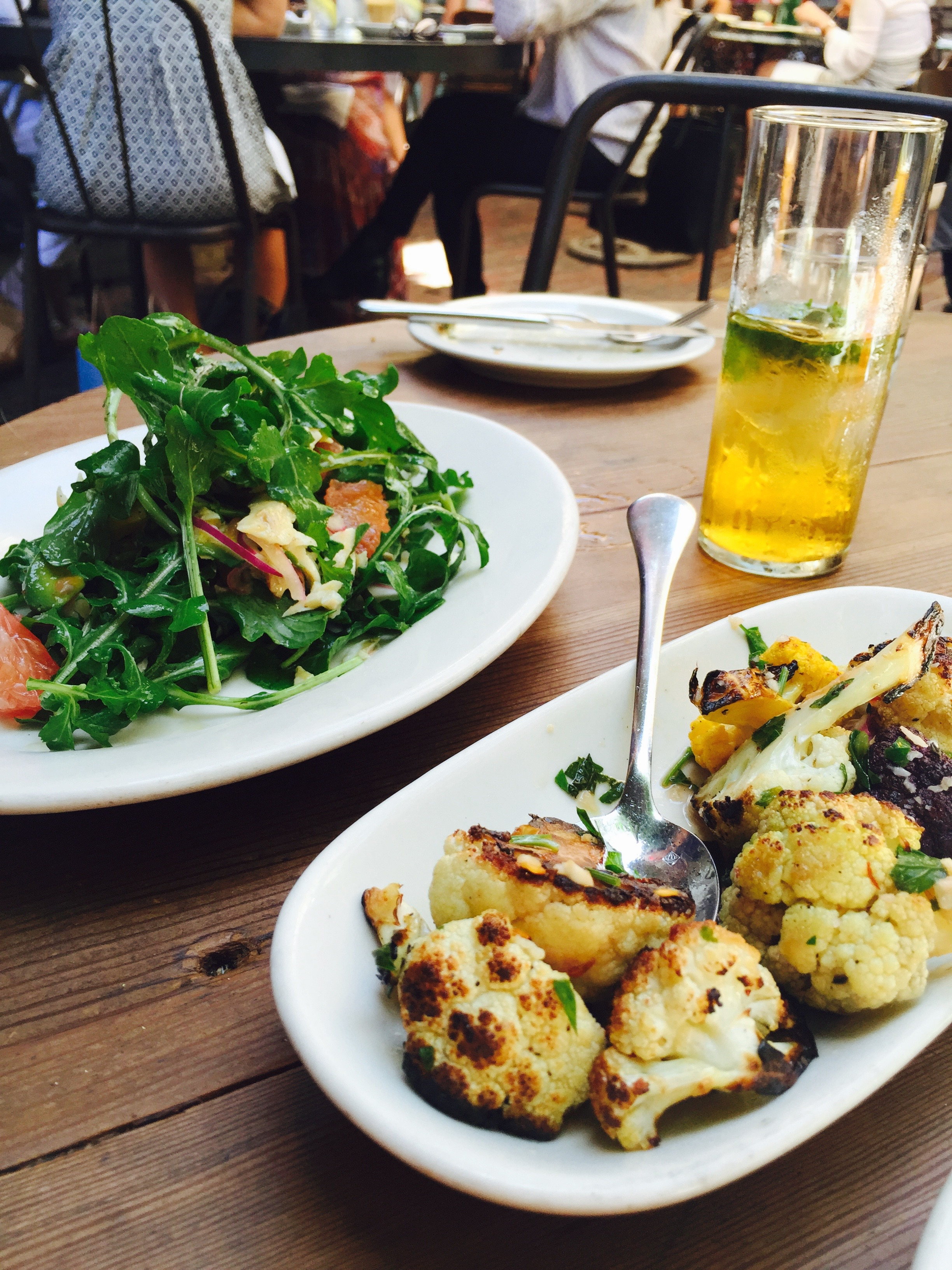Roasted Cauliflower, Arugula Salad - organic and fantastic.  Open everyday 8am-midnight.