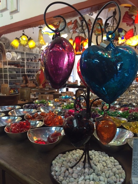 Beautiful glass hearts in all sizes and vibrant colors.