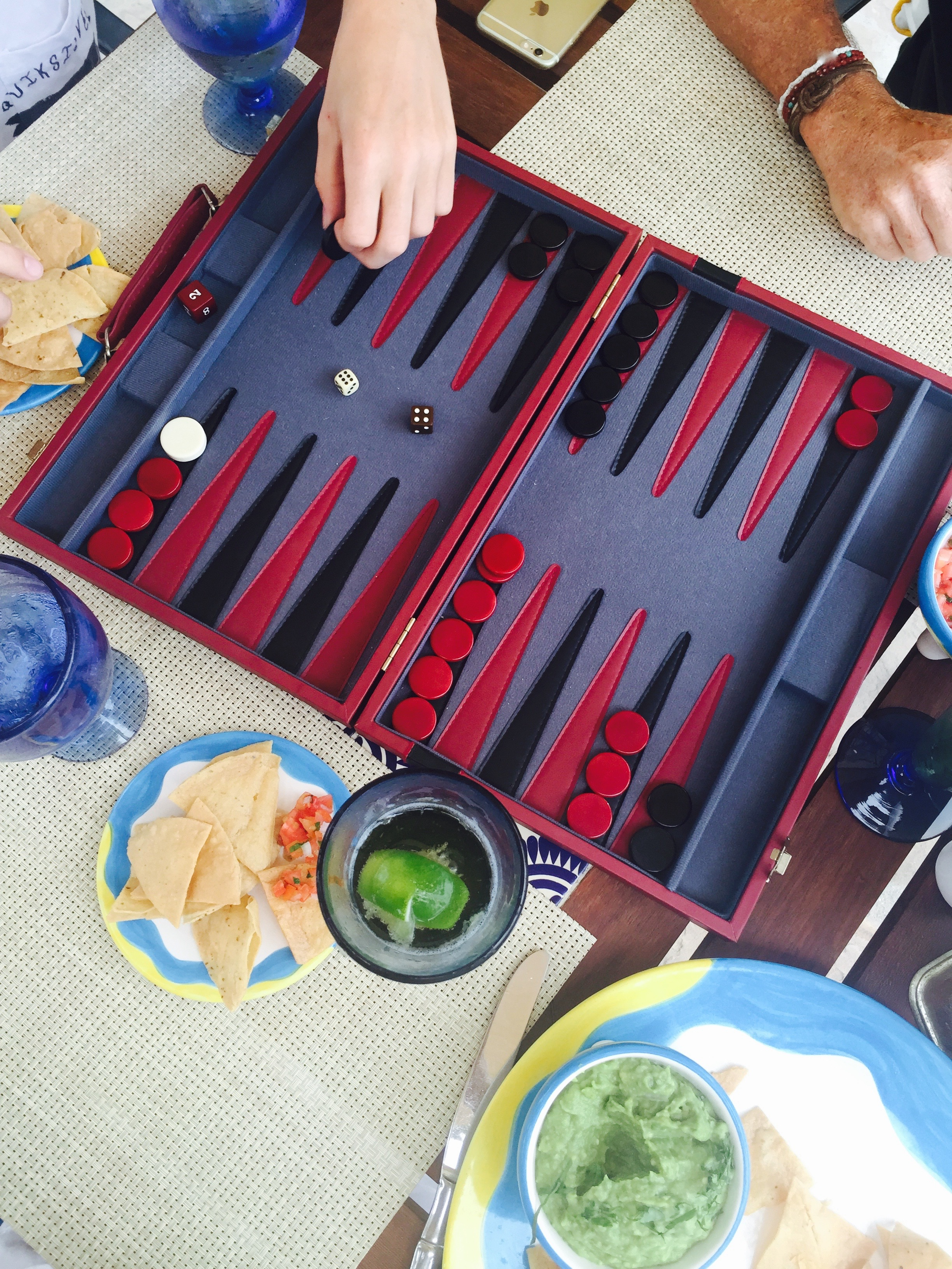 Enjoying lunch with a little backgammon at Breeze. I'm pretty sure I lost this round.