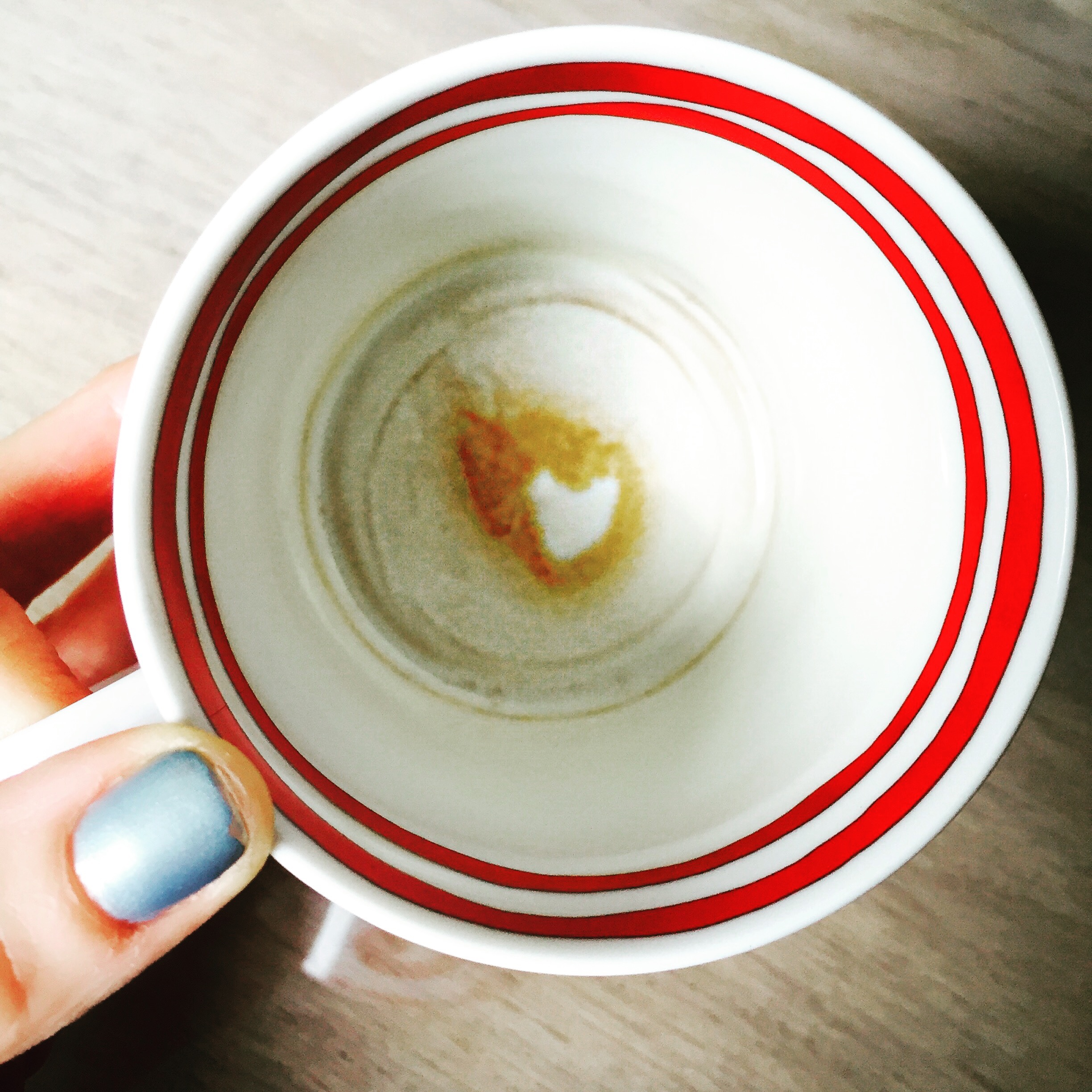 Saw this heart in the bottom of my coffee cup. Pretty amazing.