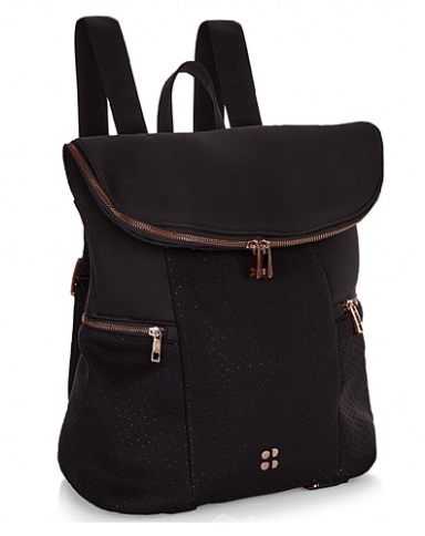 Add this stylish Sweaty Betty Backpack with your carry-on. Black with rosegold hardware.