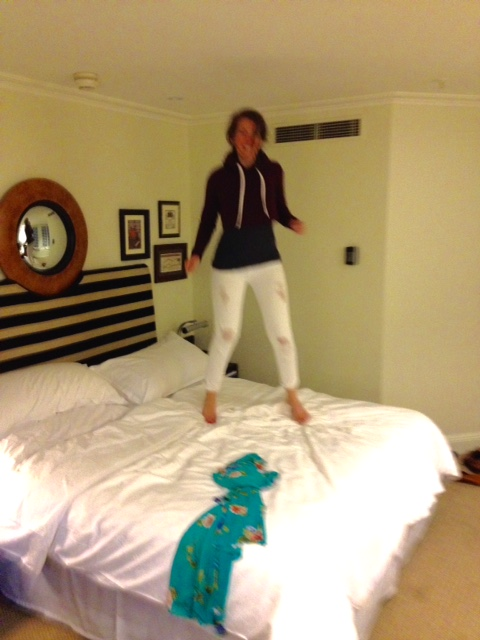 Hotel beds are great for jumping on