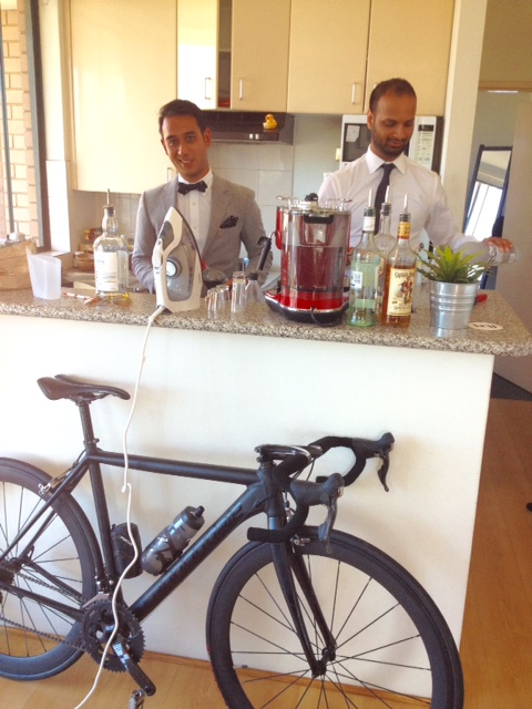 Sharp looking boys mixing drinks