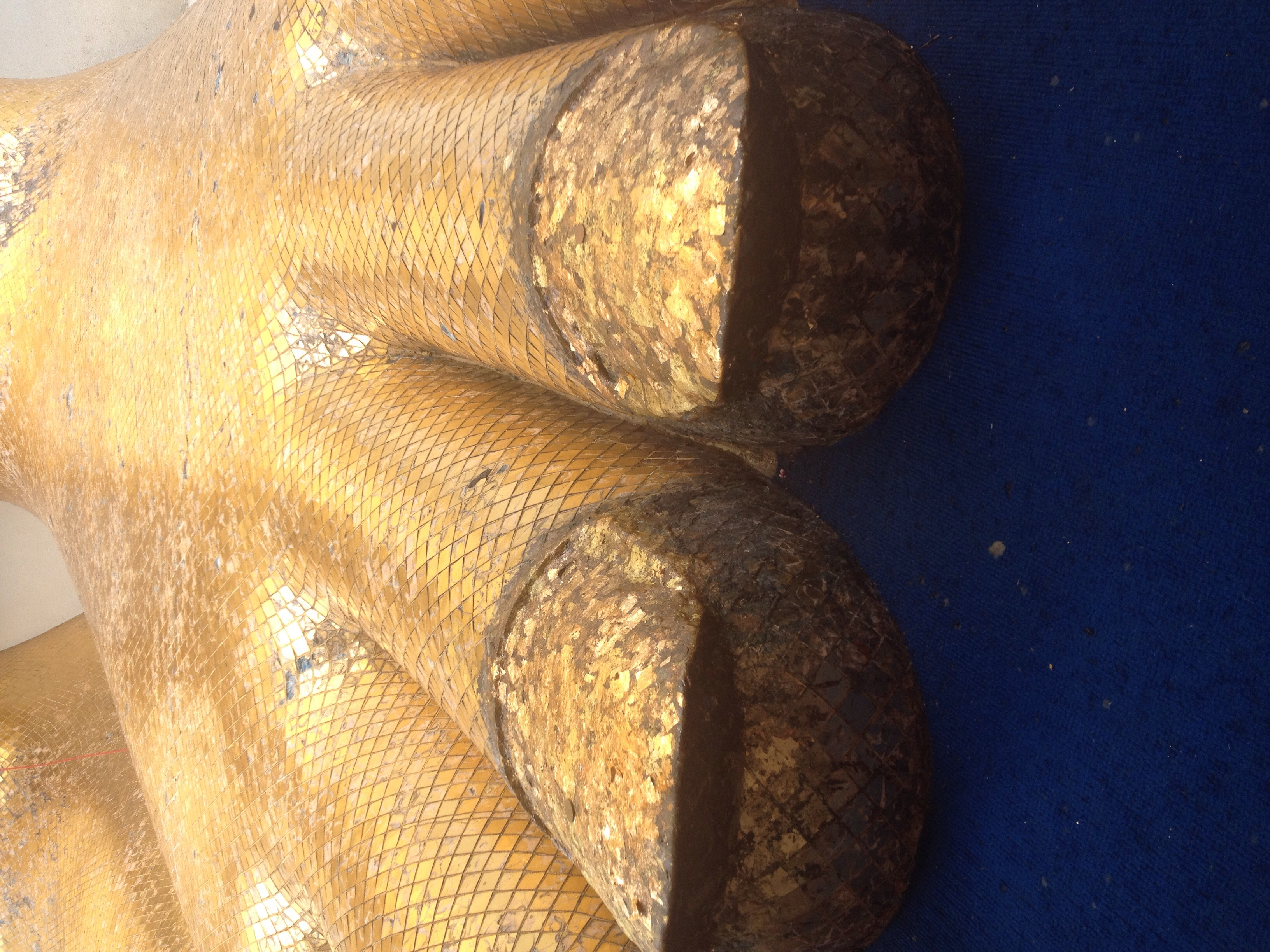 Giant gold toenails