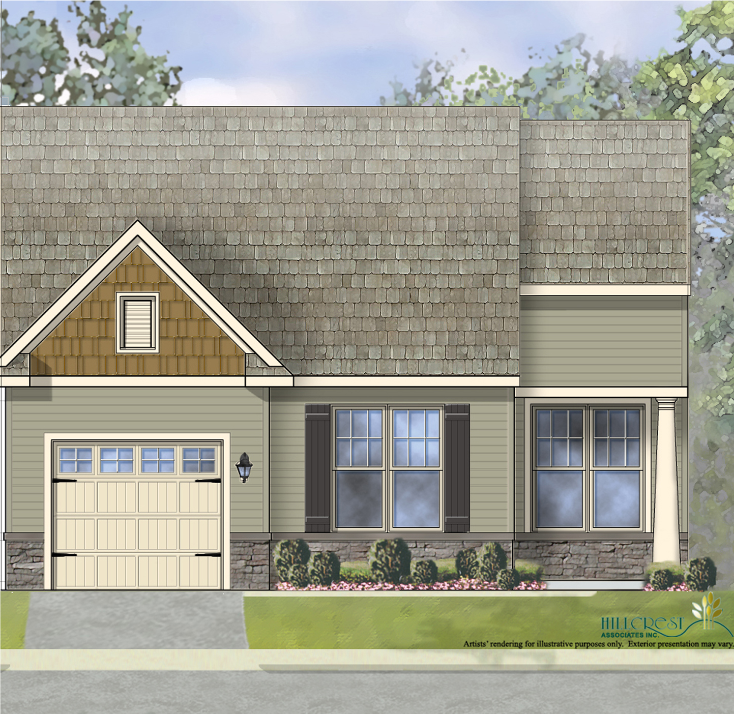 The Chatsworth Manor End Unit Home with low maintenance vinyl siding andstone wainscoting