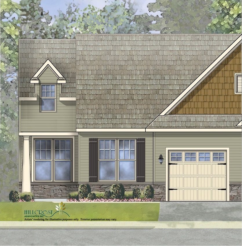 The Aster Manor End Unit Home with low maintenance vinyl siding andstone wainscoting