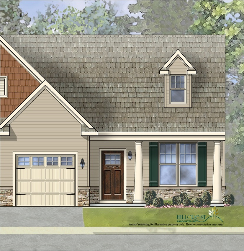 The Amelia Manor End Unit Home with low maintenance vinyl siding andstone wainscoting