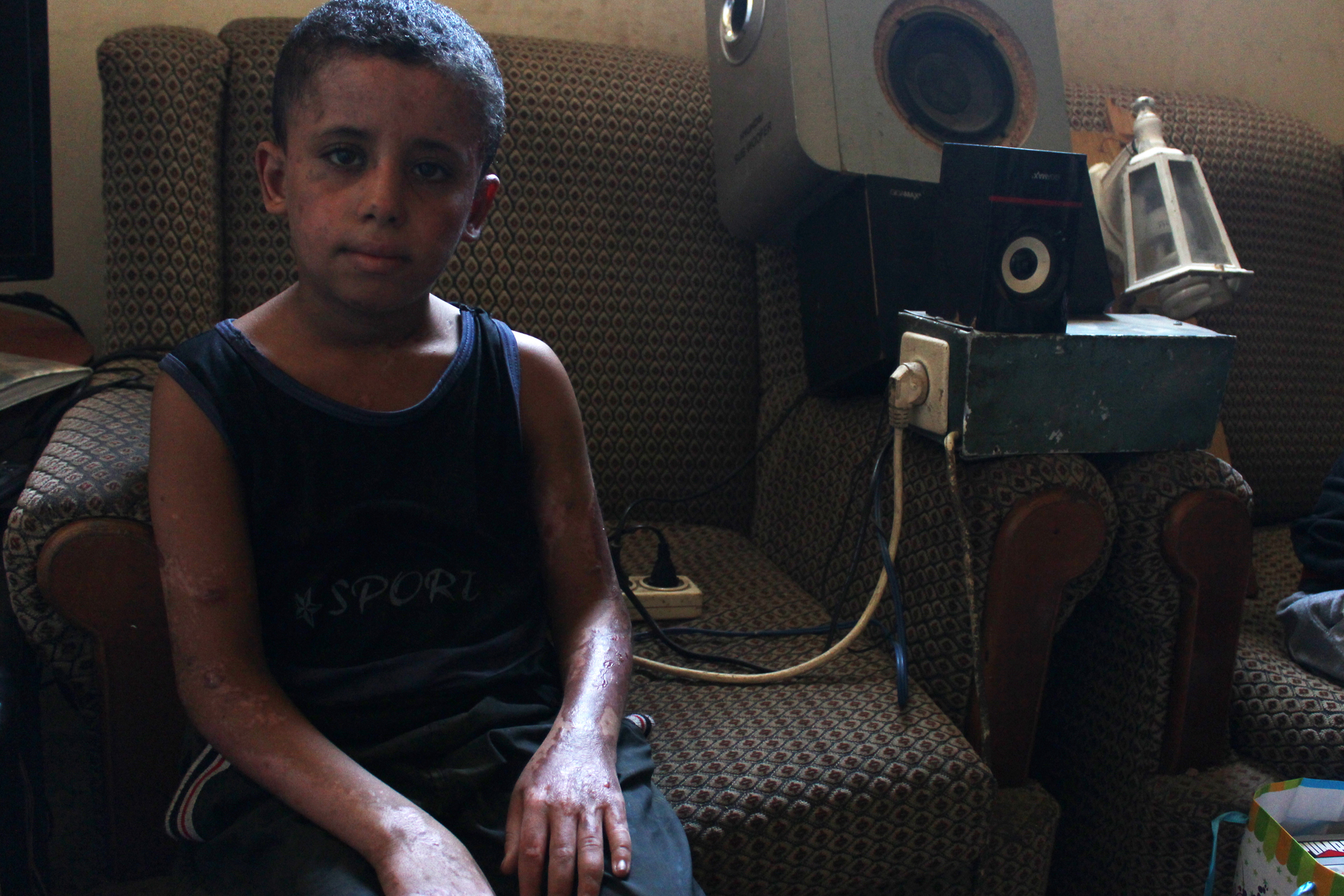 9-year old Louay in his home in al-Zaytoun neighbourhood in Gaza City