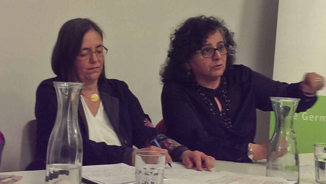 Aida Touma-Suliman (right) of the Joint List Party at a public debate in Tel Aviv hosted by the Heinrich Böll Foundation