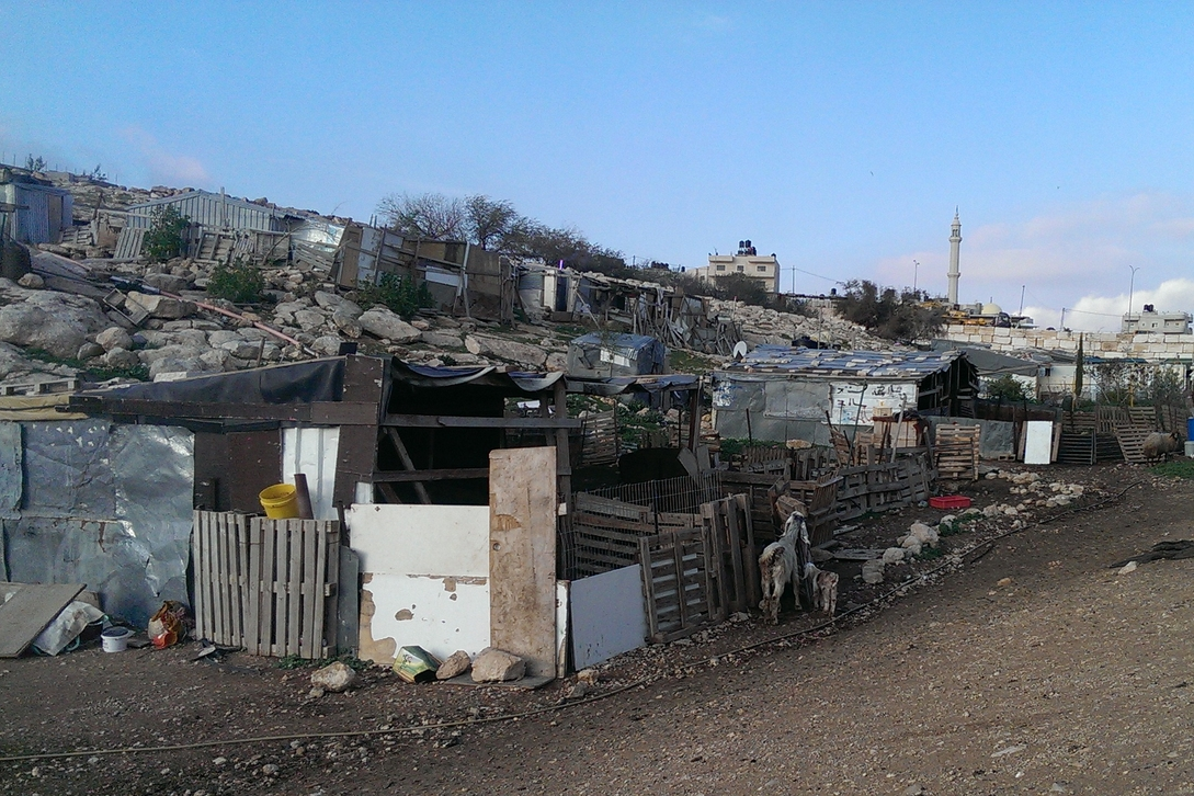 Small Bedouin camp located on the slope below 'Bawabet al-Quds'