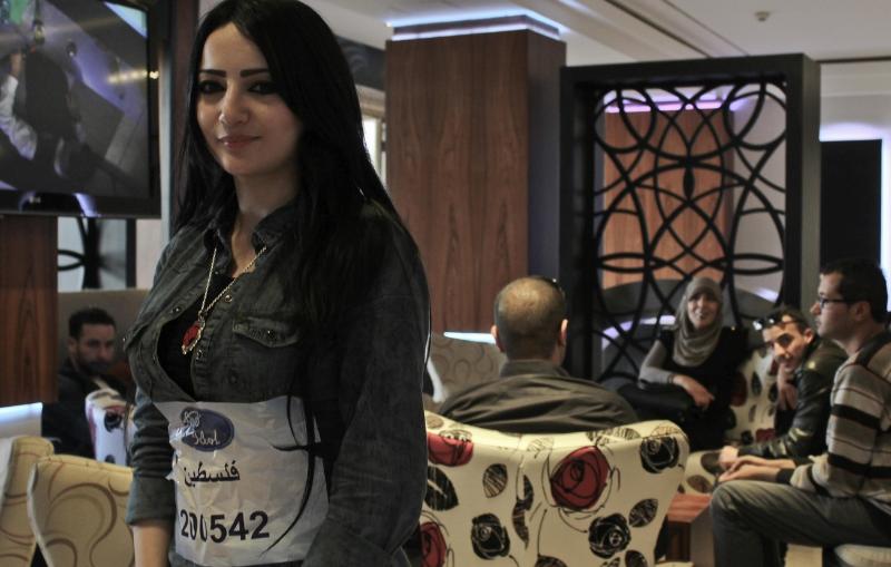 Manal Mousa til hendes audition i Ramallah, 17. mar. 2014 ©Lena Odgaard