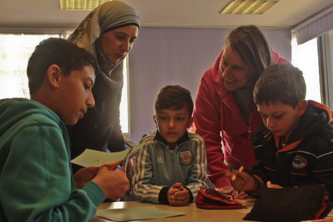 Arab + Hebrew teachers at 2nd grade in HiH jerusalem school.jpg