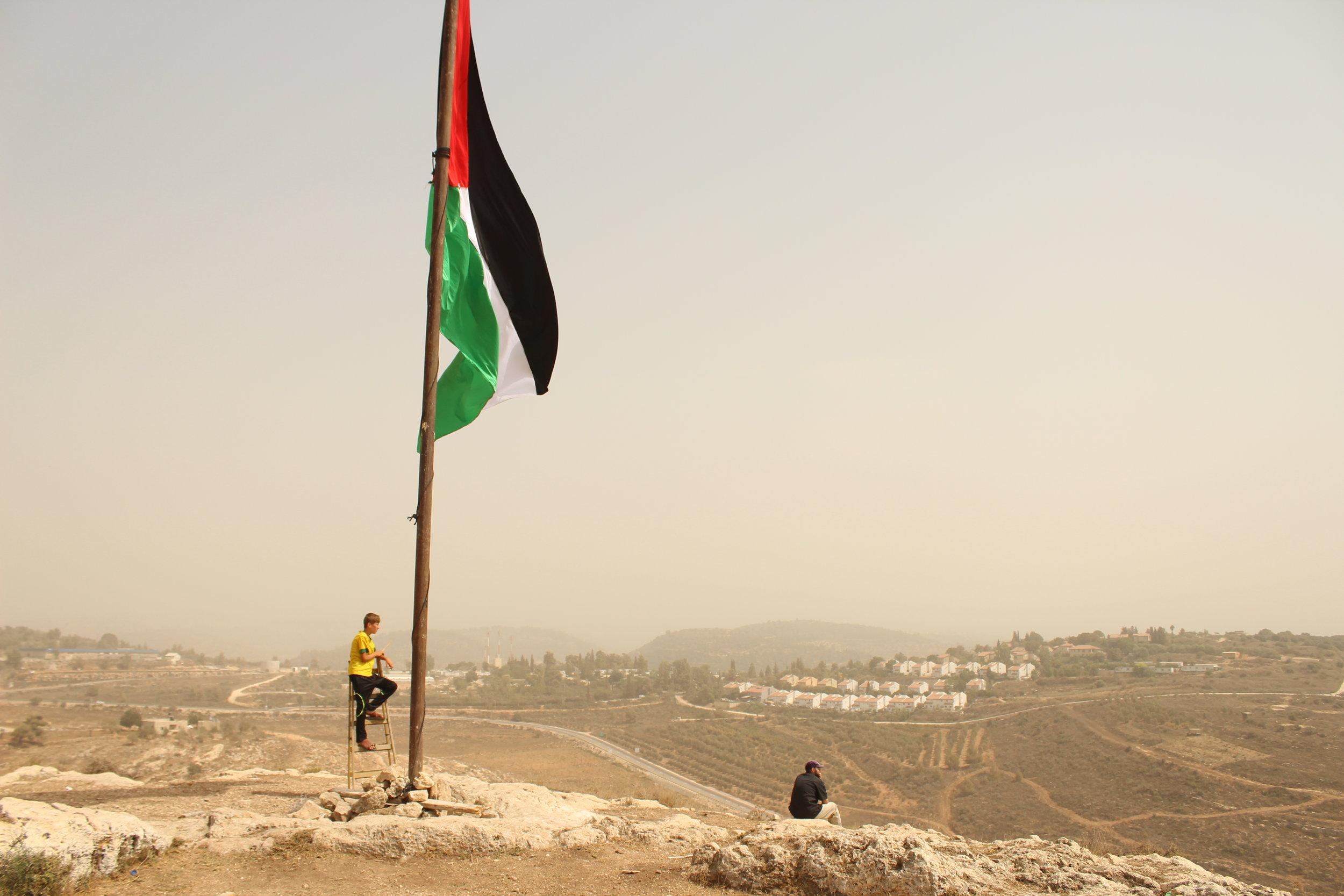 dreng stige flag Nabi Saleh.JPG