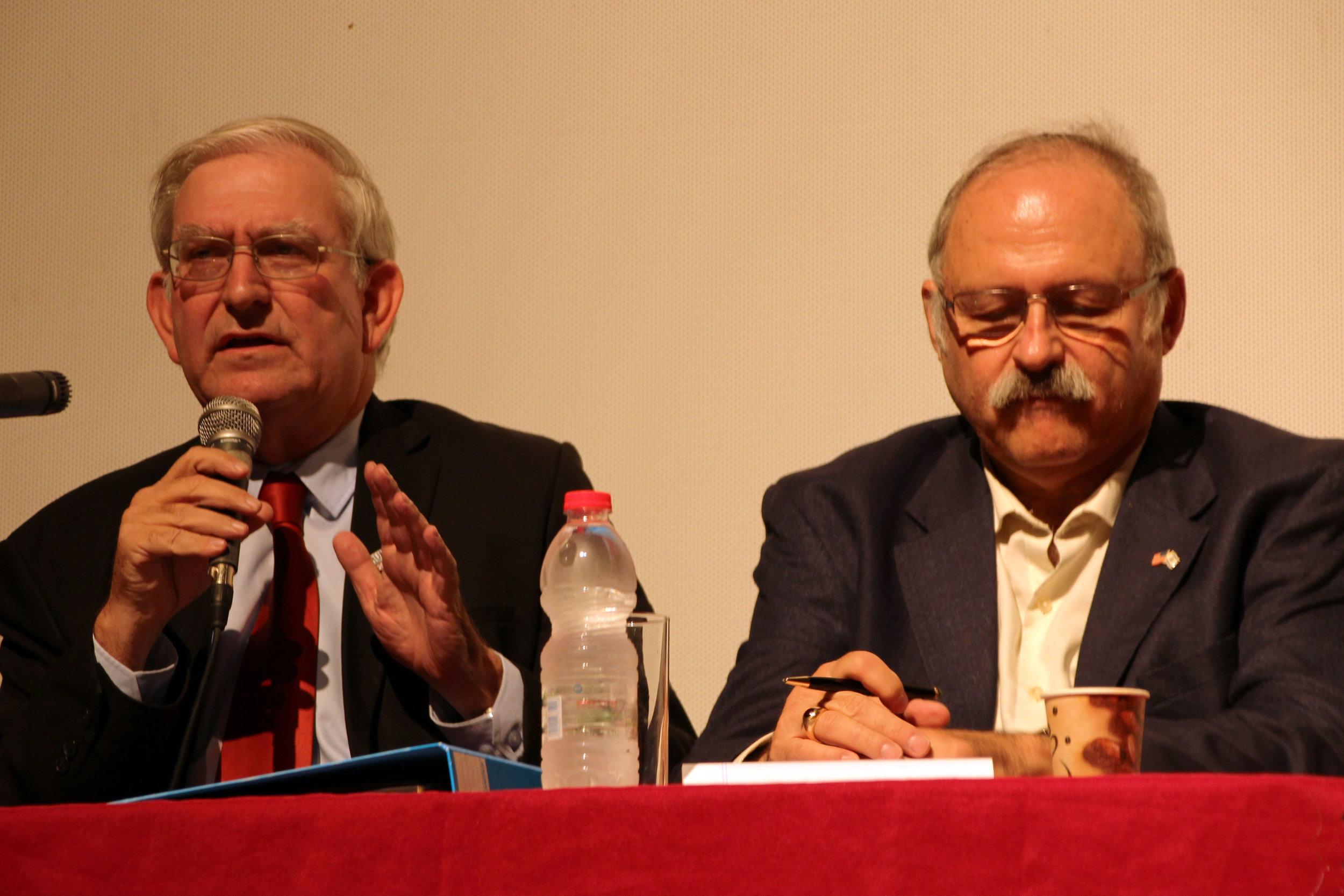 Mark Zell & Sheldon Schorer during debate.jpg