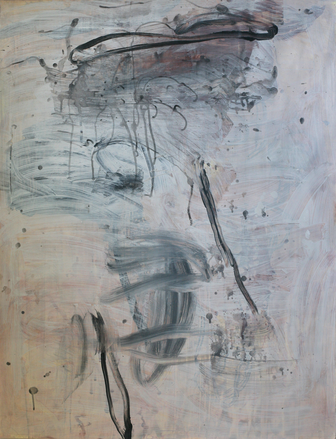 """Milarepa 01, acrylic and paste on paper on board, 50"""" x 38"""" (private collection)"""