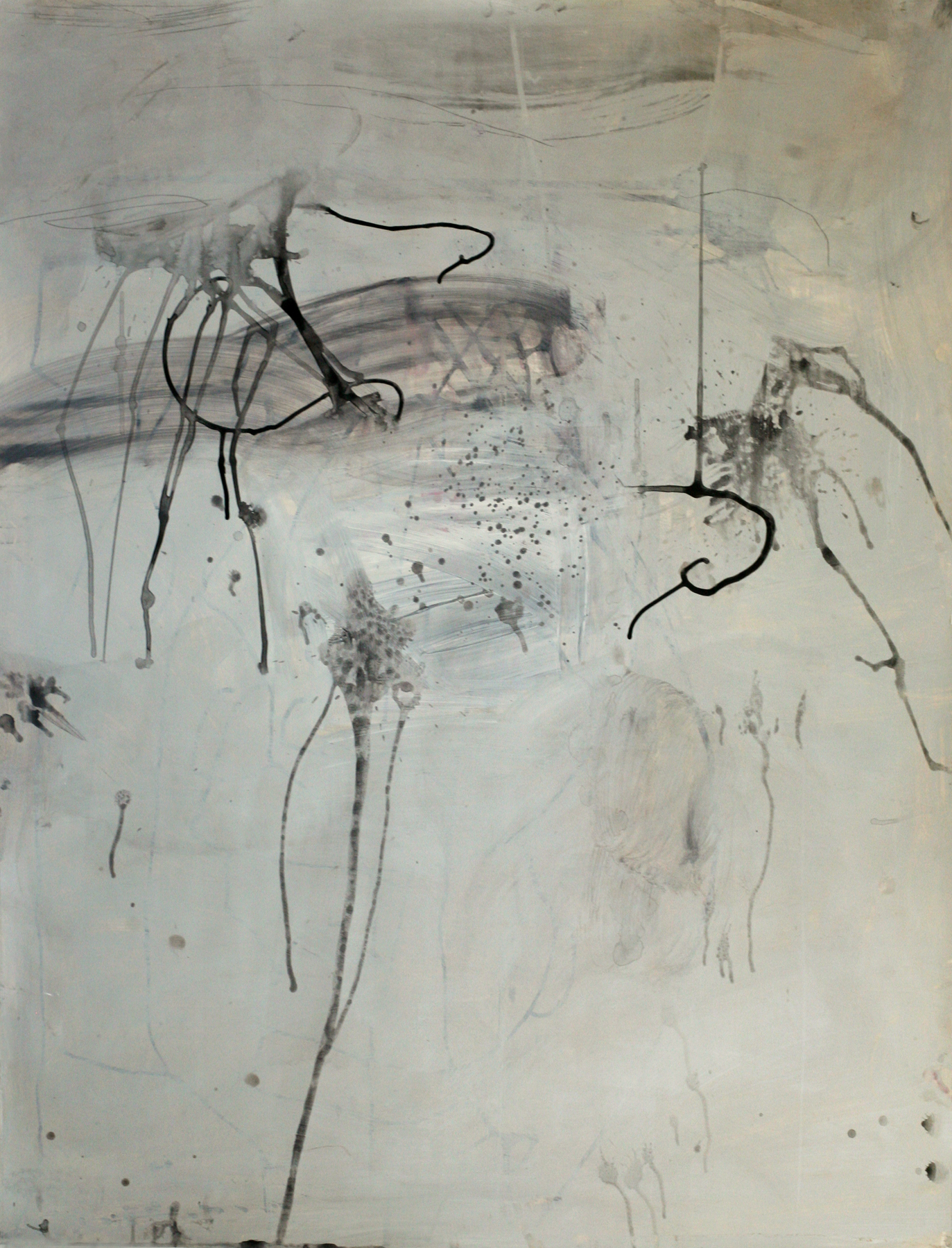 """Milarepa 02, acrylic and paste on paper on board, 50"""" x 38"""""""