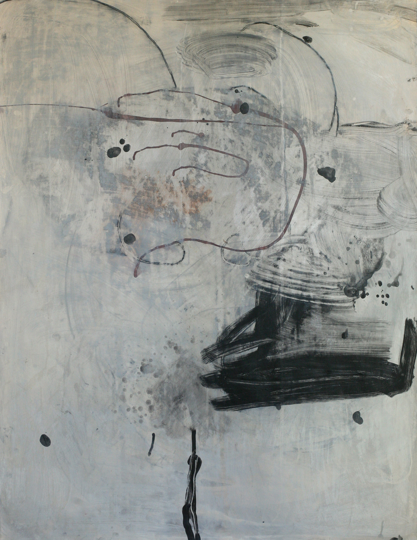 """Milarepa 03, acrylic and paste on paper on board, 50"""" x 38"""""""