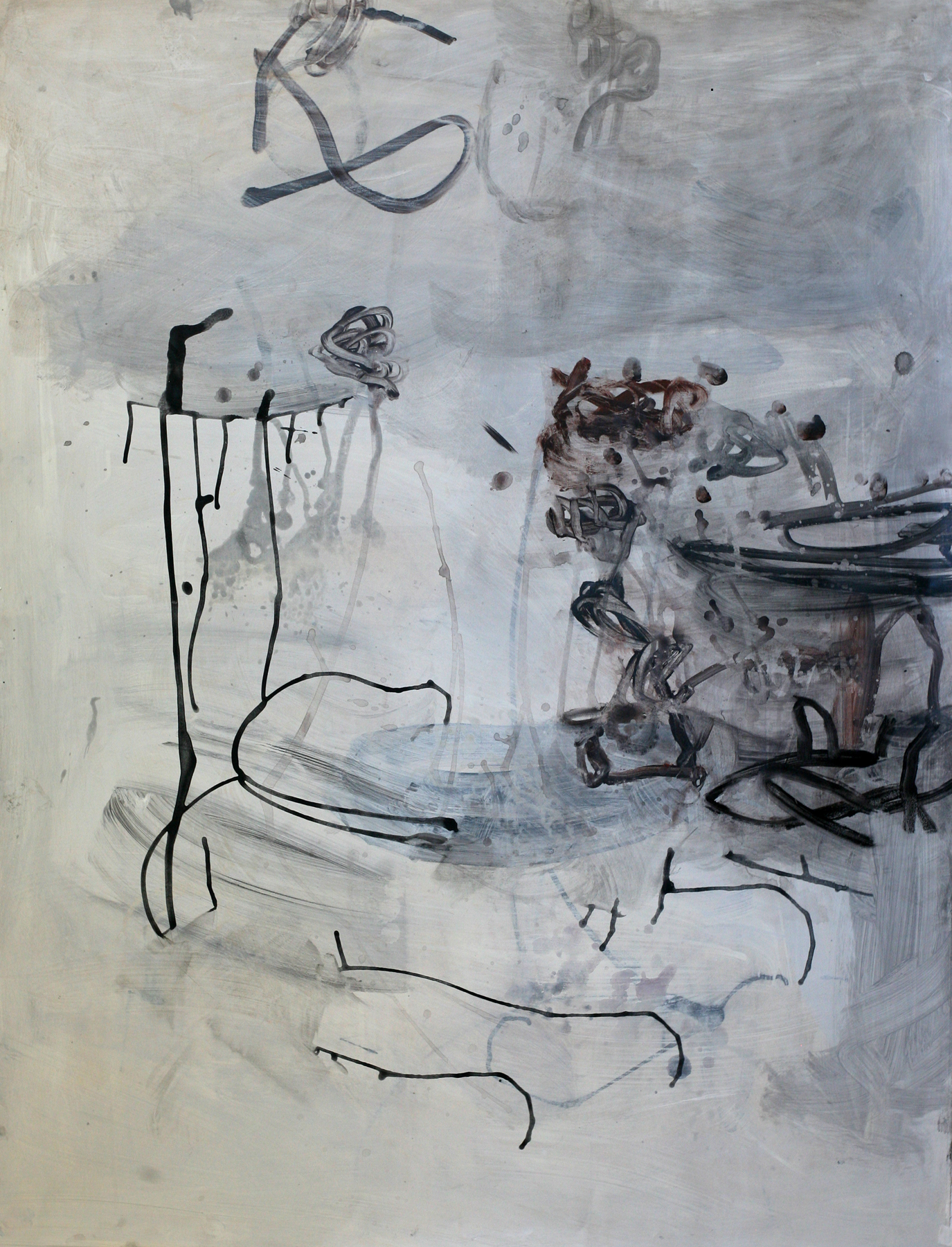 """Milarepa 04, acrylic and paste on paper on board, 50"""" x 38"""" (private collection)"""