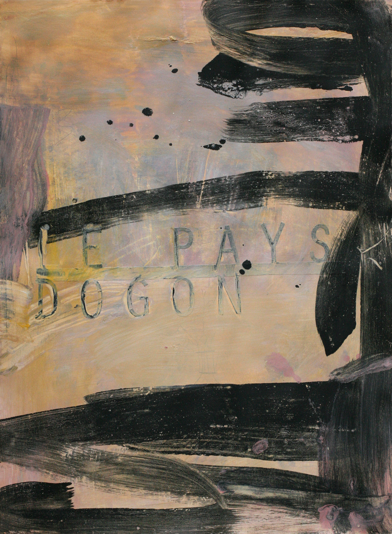 "Le Pays Dogon, acrylic on paper on board, 30"" x 22"""