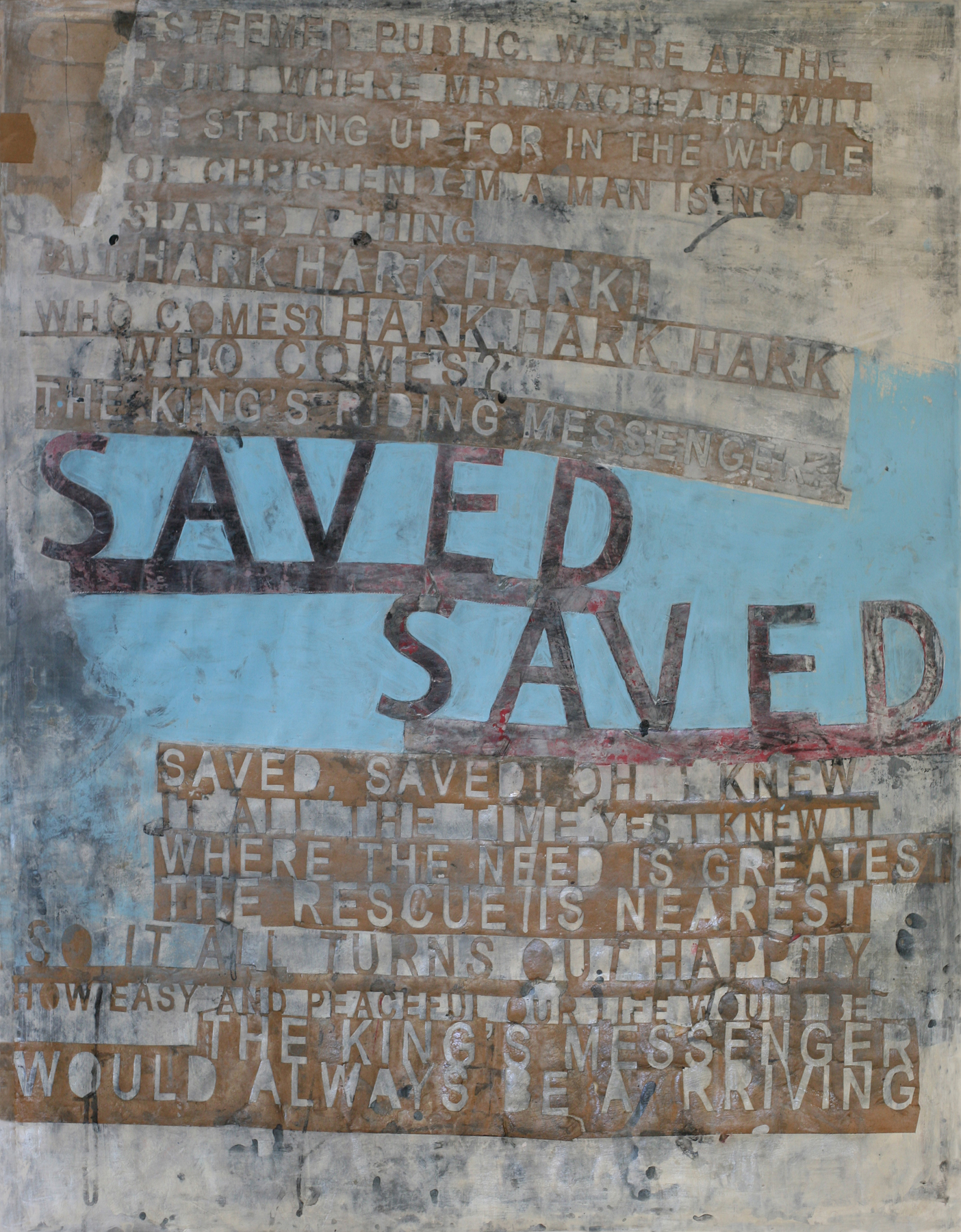 Saved (blue), acrylic and paste on paper