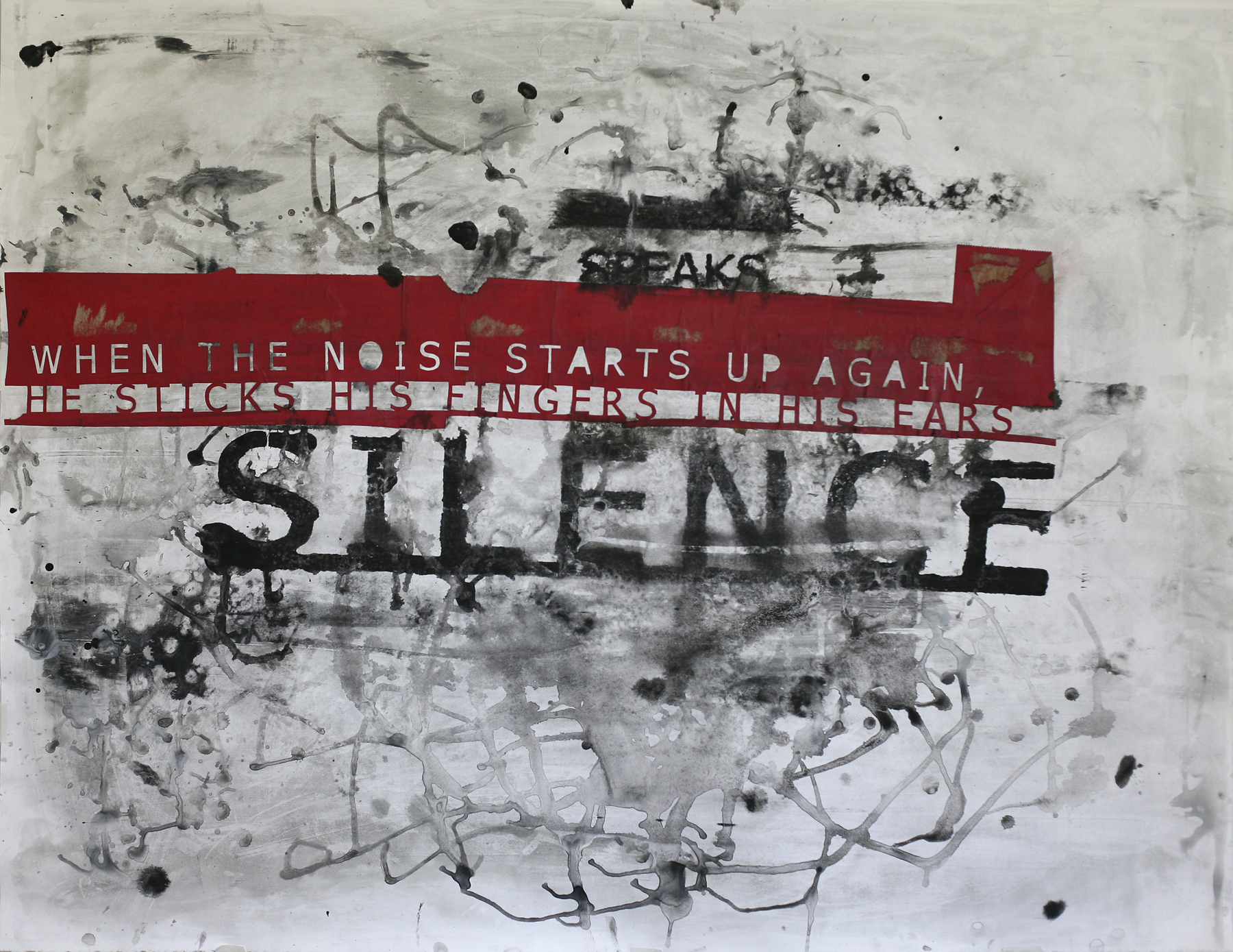 Silence Fingers Ears, acrylic and paste on paper