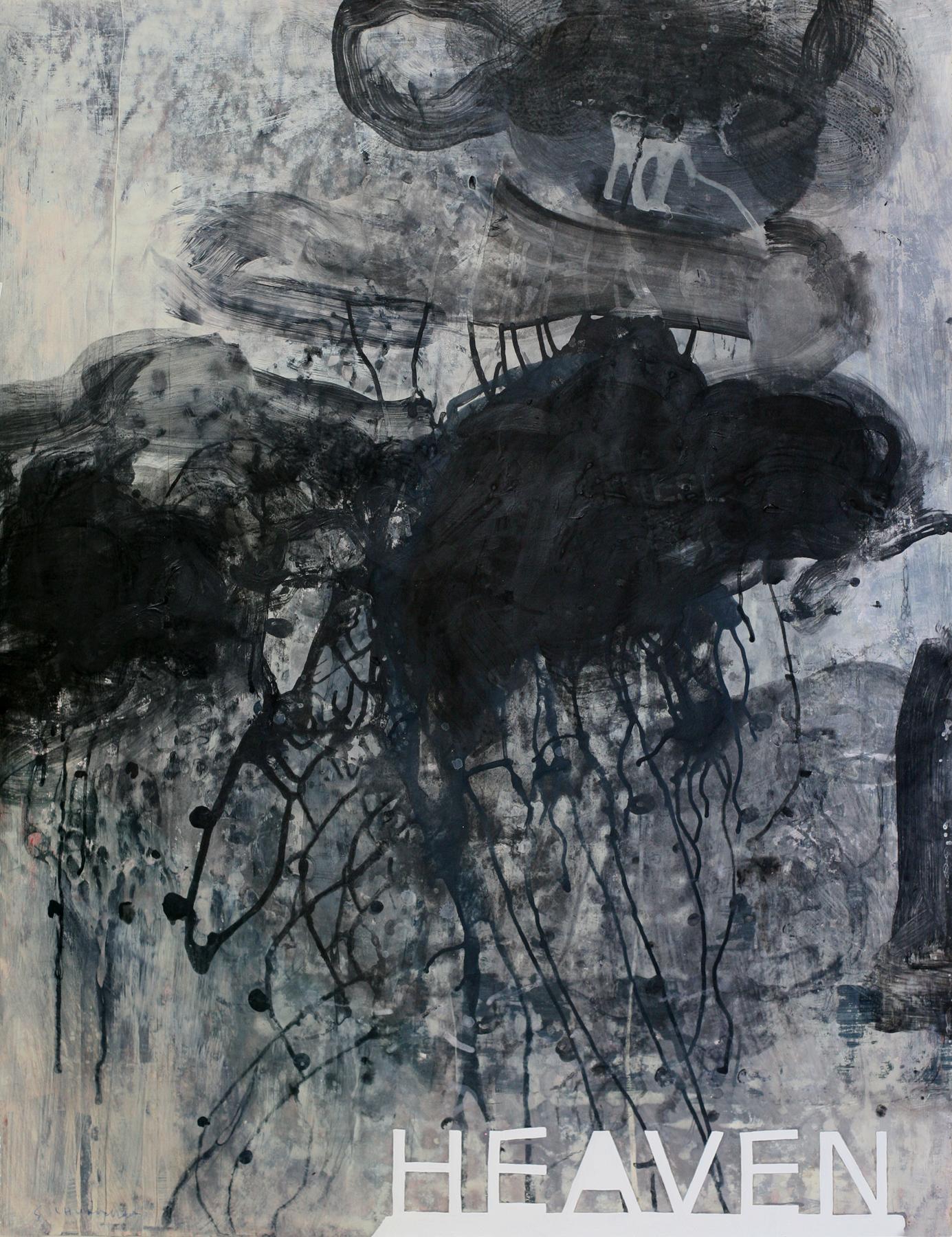 "Dark Heaven, 50"" x 34"", acrylic and paste on paper"