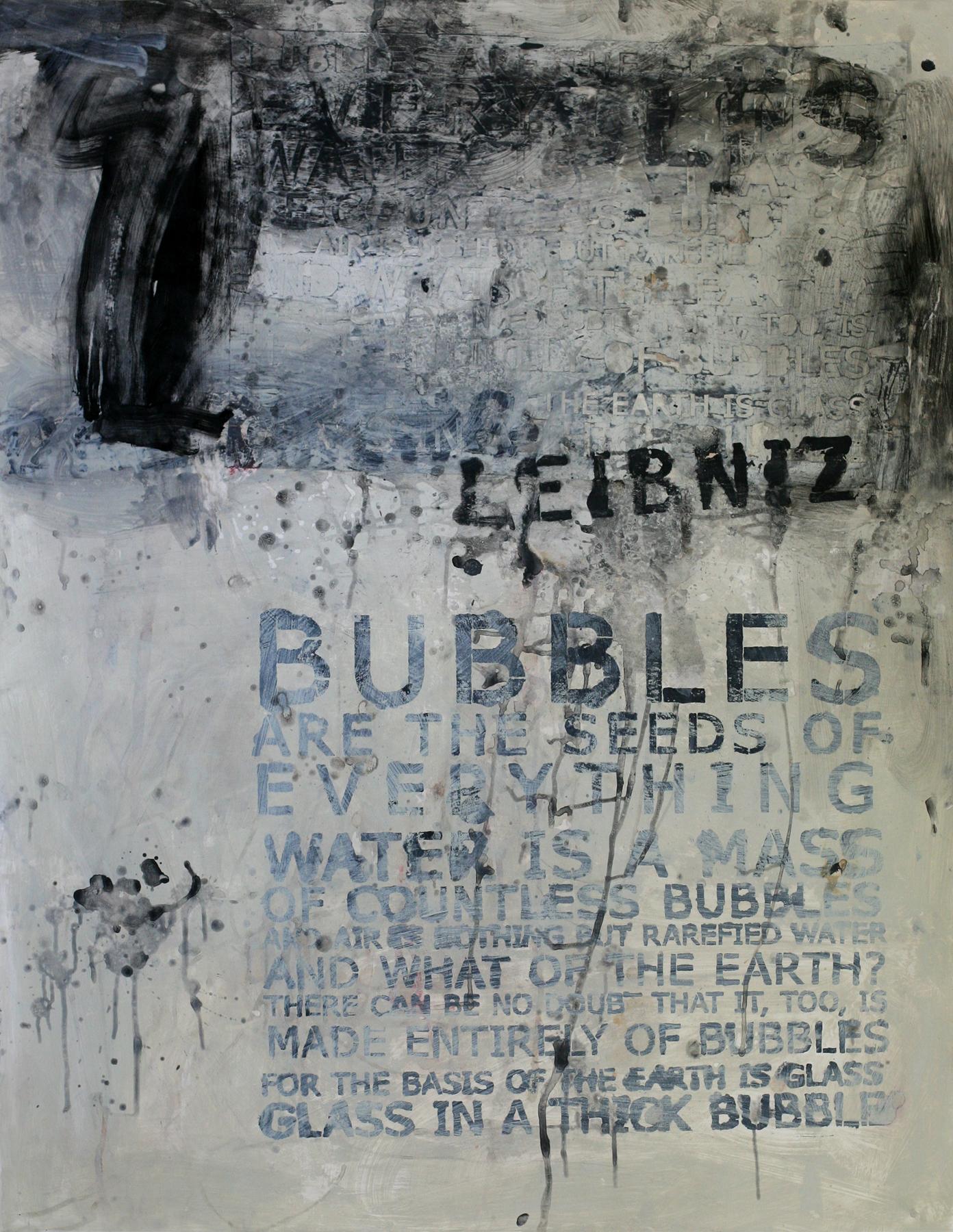 "Leibniz' Bubbles, 50"" x 34"", acrylic and paste on paper"