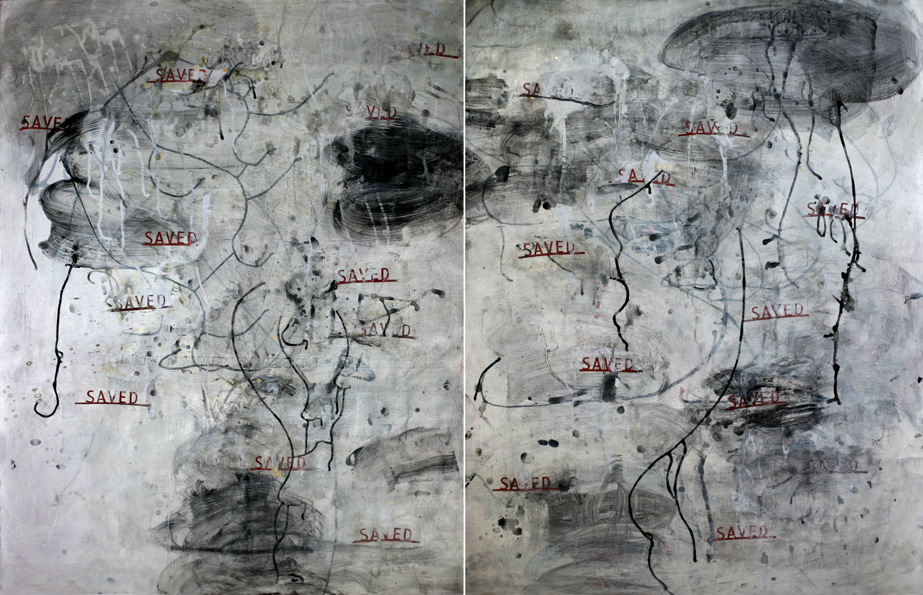 """Saved, 50"""" x 64"""", acrylic and paste on paper, Diptych"""
