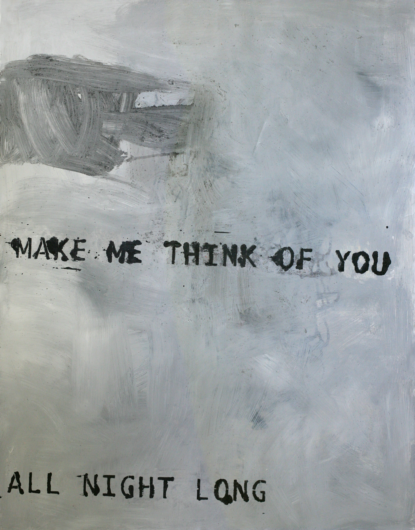 """Think of You, 50"""" x 34"""", acrylic and paste on paper (private collection)"""