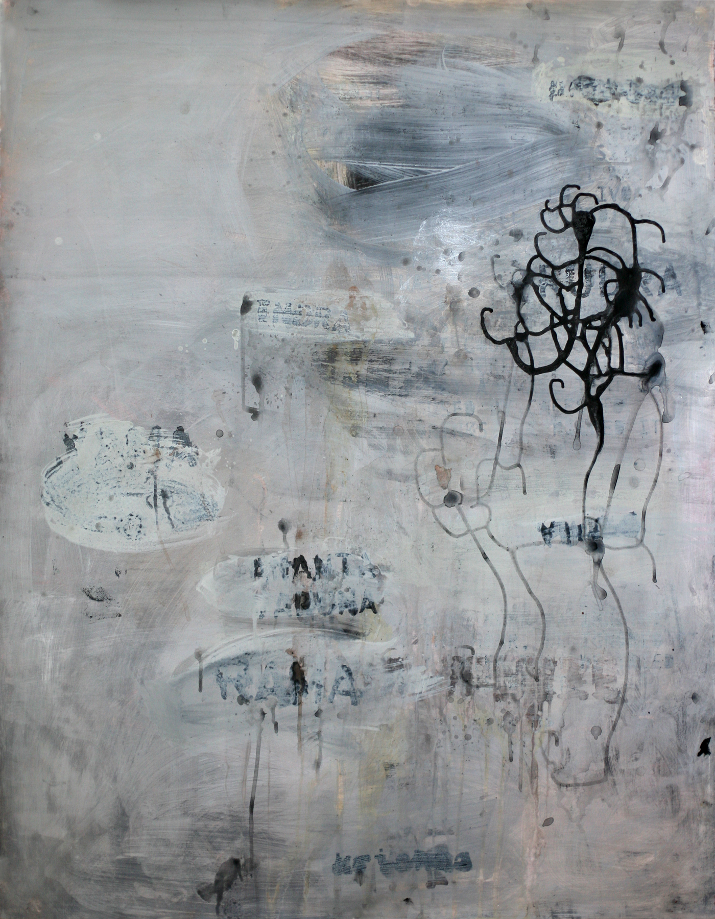 """No More Names, 50"""" x 34"""", acrylic and paste on paper"""