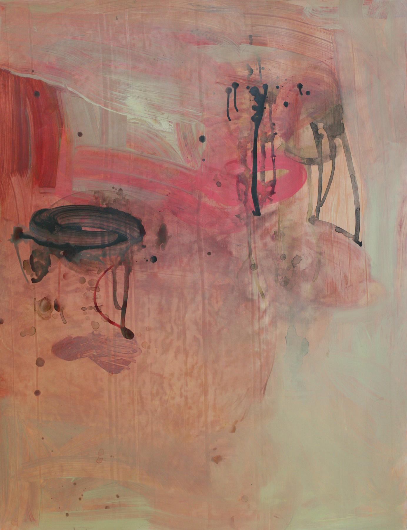 """Pinks, 50"""" x 34"""", acrylic and paste on paper"""