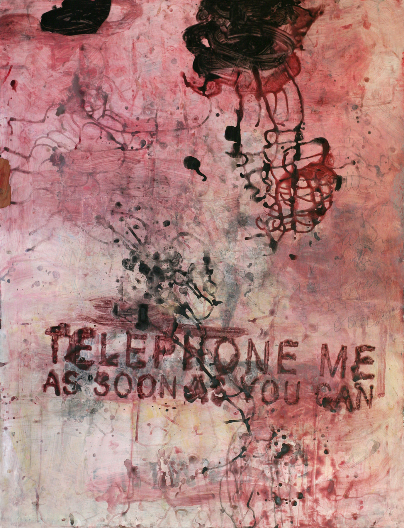 """Red Telephone, 50"""" x 34"""", acrylic and paste on paper"""