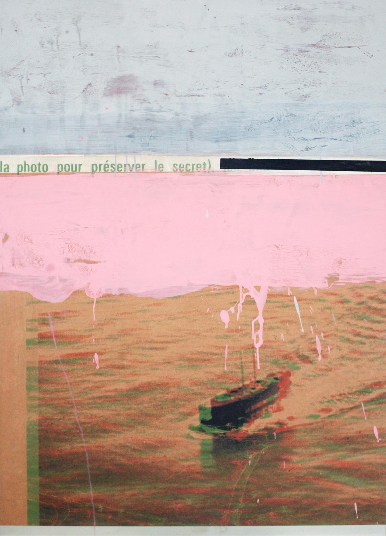 "French Secret, digital print + acrylic, 48"" x 34"""