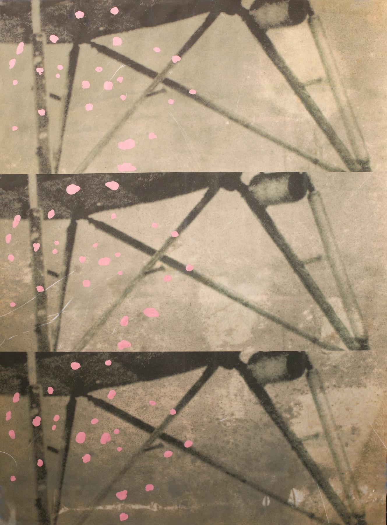 "Dogs Struts, digital print + acrylic, 48"" x 34"""