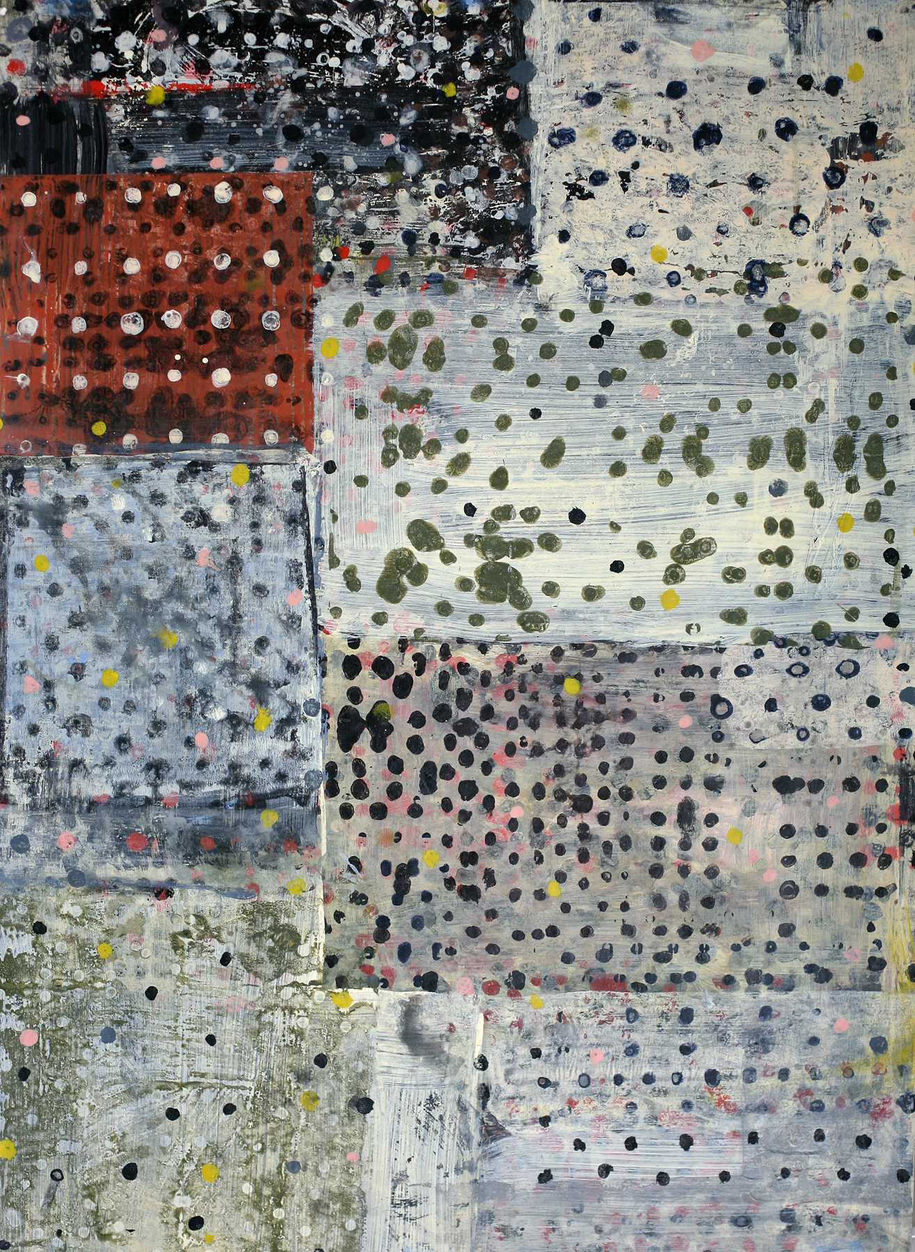 "Séno-Gondo acrylic and paste on paper, 34"" x 25"""