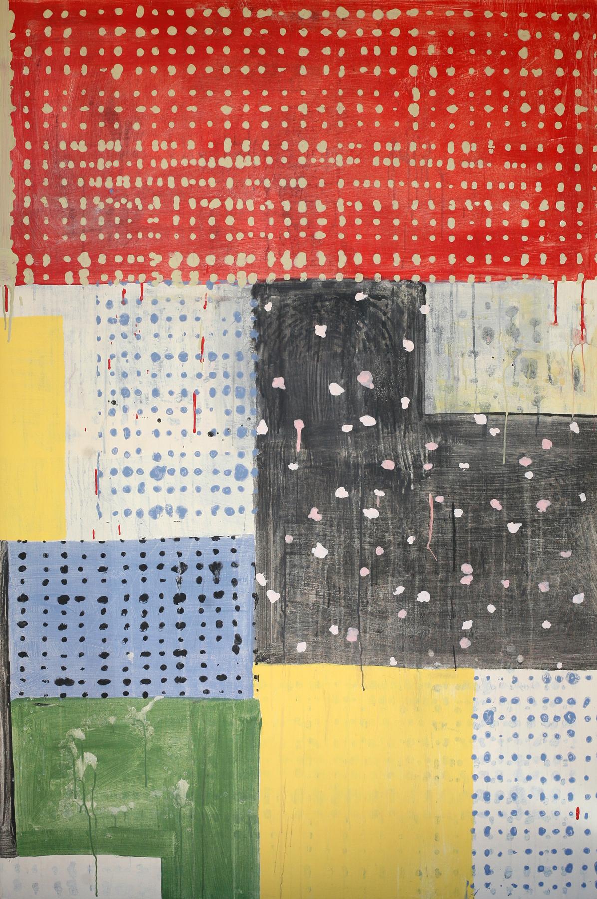 "Dogon Calico, acrylic on canvas, 72"" x 48"""
