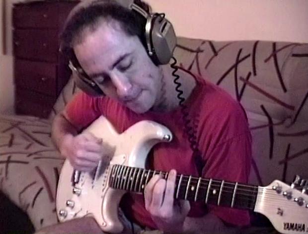 "Recording with ""smokin' babe"" guitar (1990)"