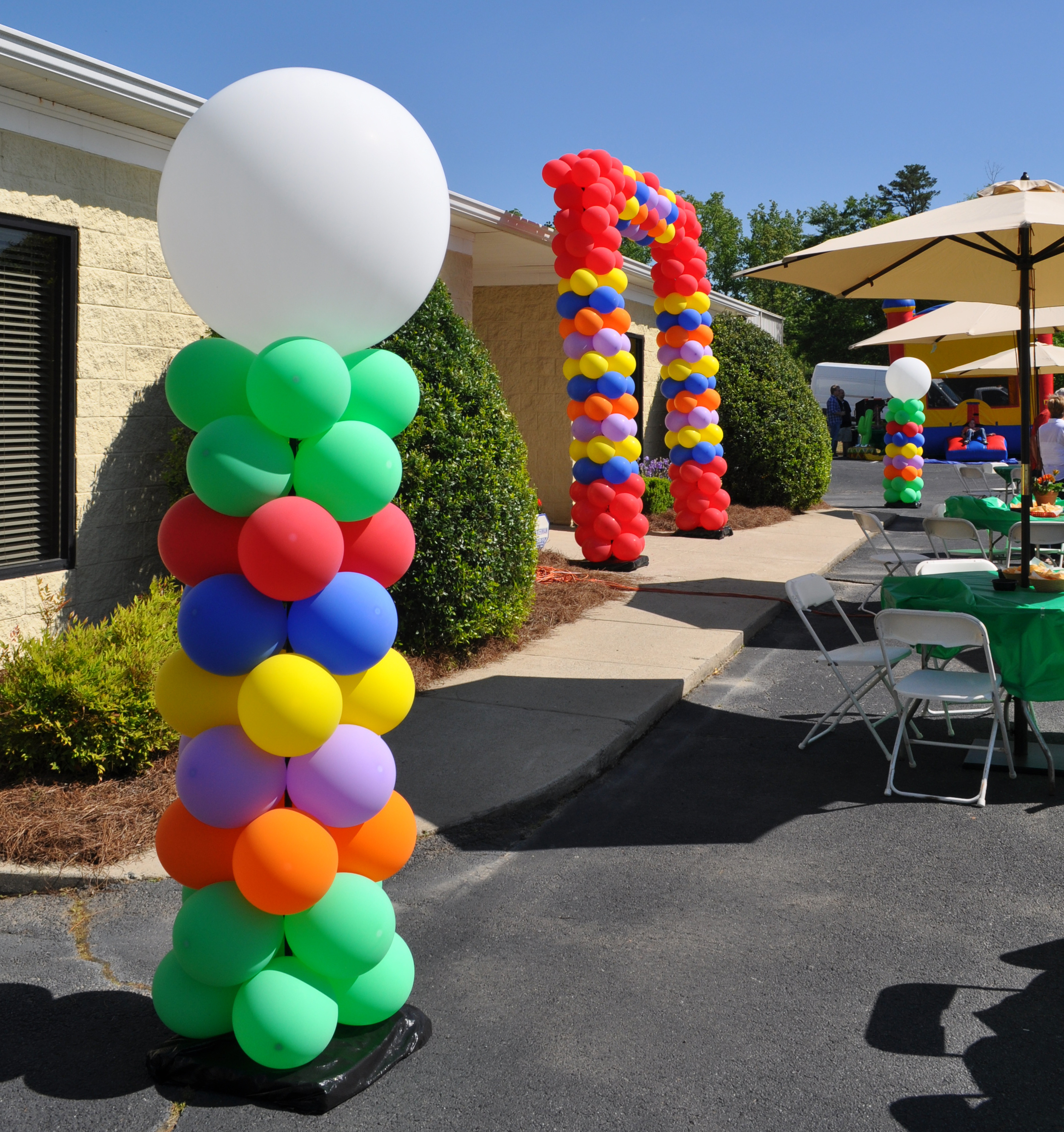 Outdoor balloon entranceway for a corporate event