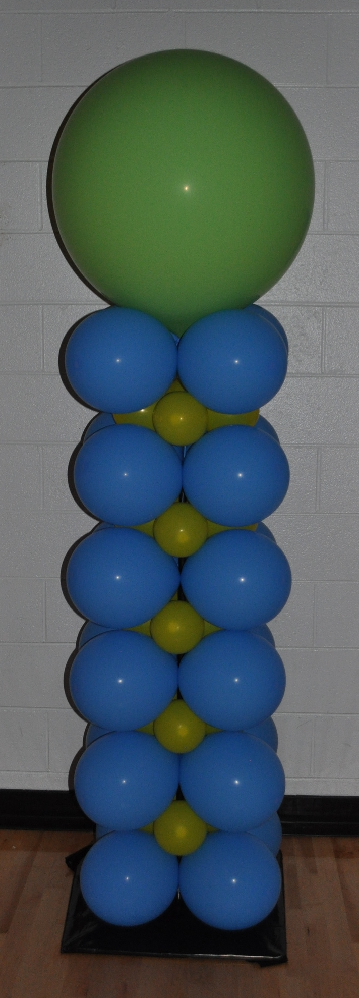 Green yellow and blue balloon column