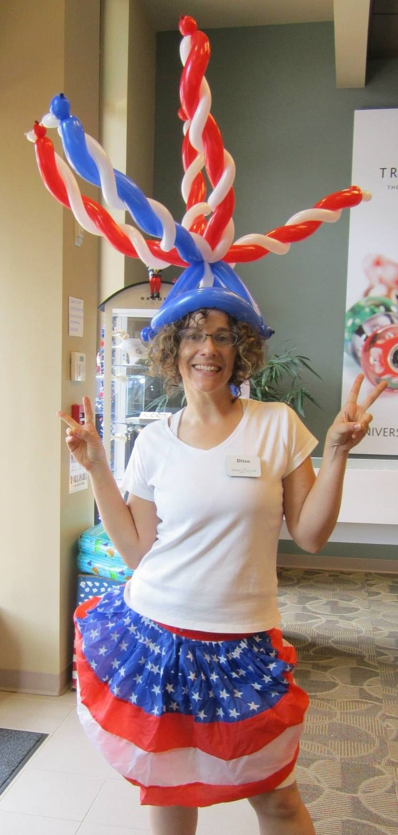 Red white and blue balloon hat