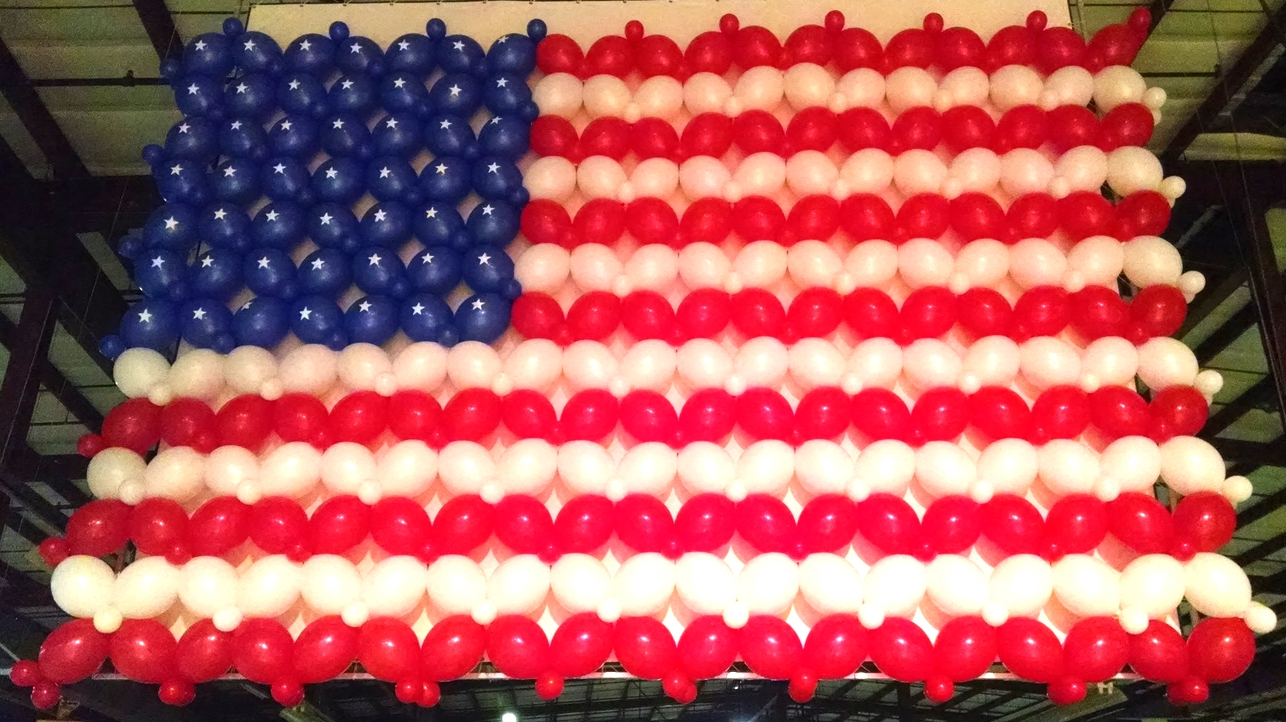 Balloon sculpture of an American flag